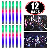 Super Z Outlet Upgraded Light up Foam Sticks, 3 Modes Colorful Flashing LED Strobe Stick for Party, Concert and Event (12 Pack)