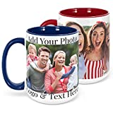 Custom Photo Coffee Mugs, Royal Blue, 15 oz Personalized Mugs w Picture, Text - Personalized Gifts for V Day, Boyfriend, Girlfriend, Parents, Office, Christmas Gifts, Custom Mug, Taza Personalizadas