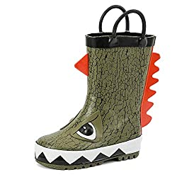 4. ALEADER Kids Toddler Waterproof Rubber Dinosaur Rain Boots
