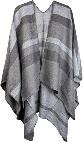 styleBREAKER Poncho mit Streifen Muster, Überwurf Cape, Wendeponcho, Damen 08010009, Farbe:Grau-Weiß