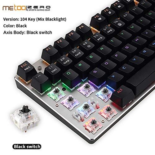 Gaming Mechanical Keyboard 87/104 Tasten USB Kabelgebundene Tastatur Blau/Rot/Schwarz-Schalter Von hinten beleuchtete Tastatur Hebräisch/Russisch/Spanisch, 104 Schwarz-Rot-Schalter, Englisch
