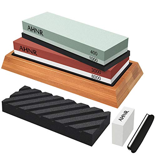 Knife Sharpening Stone Set - 4 Side Grit 400/1000 and 3000/8000 Waterstone, AHNR Professional Knife Sharpener Whetstone Kit Includes NonSlip Bamboo Base, Flattening Stone & Angle Guide