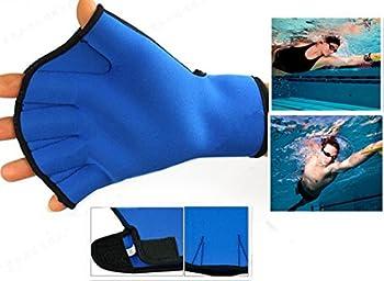 Harryshell TM Water Resistance Fins Hand Glove Training Fingerless Webbed Flippers Paddle Swim Gloves  Blue Medium