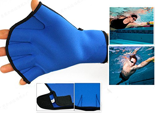 Harryshell(TM Water Resistance Fins Hand Glove Training Fingerless Webbed Flippers Paddle Swim Gloves (Blue, Medium)
