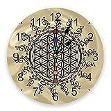 tyjsb Flor de la Vida Yoga Zen Reloj de Pared Decoración del hogar Dormitorio Reloj silencioso...