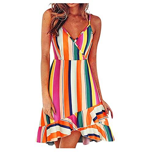 FQZWONG Women's Summer Mini Adjustable Spaghetti Dress Holiday Floral Print Wrap V Neck Dress Casual Ruffle Dress for Beach(A-Orange,Small)