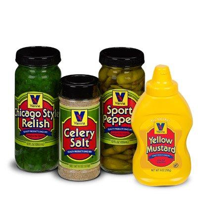 Vienna Chicago-Style Condiment Kit (1 Jar Yellow Mustard, 1 Jar Green Relish, 1 Jar Sport Peppers, 1 Jar Celery Salt)