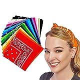 18 PCS Fascia Multicolori per Cappelli, Bandana per Capelli, Collo, Testa, Sciarpa Fazzoletti da Taschino, Disegno Paisley, Accessori Moda