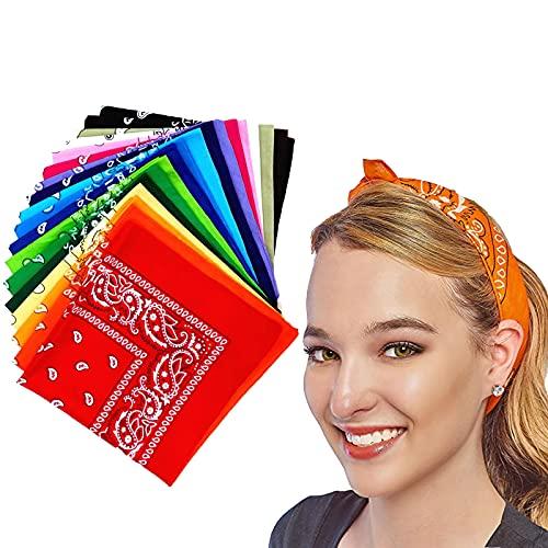 18 bufandas con diseño de cachemira, pañuelo, bandana, bufanda estampada unisex, elección de color para la cabeza, cinta para el cuello y la muñeca