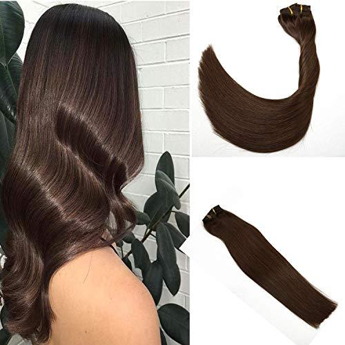Clip in Extensions Echthaar Haarverlängerung Remy Menschenhaar 7A Brasilianisches Haar 120g 100% Menschliches Haar 4 Medium Browm Clip In Extensions 18Zoll/45cm