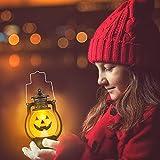 Kürbis Licht, 3 Stück Halloween Laterne mit LED Kerze, Kürbis Laterne Teelichter Batterie LED Kürbis Licht Vintage Laterne Nachtlicht Tragbare Kürbis Lichter für Halloween Deko - 5