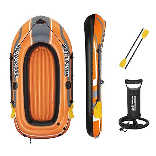 Bestway Unisex's BW61102-21 Kondor 3000 Inflatable Boat Raft, Rubber Dinghy, Orange, 2.20m x 1.41m