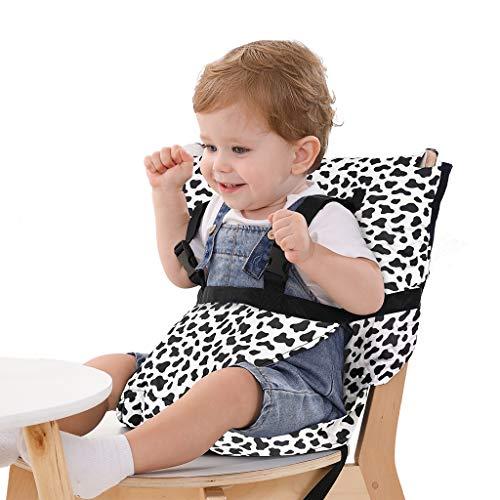 Cubierta portátil para silla alta de bebé, segura, lavable, arnés de tela con correas ajustables para alimentar al bebé, Blanco