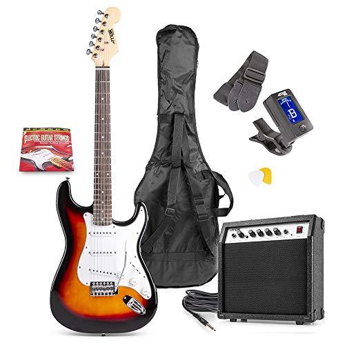 Max Pack GigKit E-Gitarre mit 40 Watt Verstärker - Sunburst, mit viel Zubehör, Tasche, Picks und digitalem Tuner, ideal für Anfänger