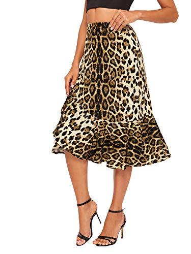 WDIRARA Women's Casual Leopard Print Ruffle Trim A Line Midi Skirt Multicolor M
