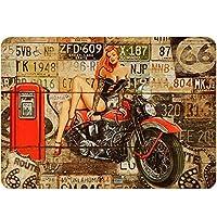 レトロルート66デザイン錫金属マーク壁アート厚タンタン板印刷ポスター壁装飾ガレージ