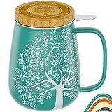 amapodo Teetasse mit Deckel und Sieb 650ml Porzellan Tasse groß, XXL Tassen Set plastikfrei Türkis...