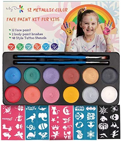 Maydear Face Painting Kit for Kids with 12 Colors Safe and Non Toxic Pearl Face Paint 40 Stencils product image