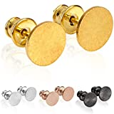 modabilé Pendientes de botón para damas redondo de plata de ley 925 (8mm) CIRCLE Aretes chapado en oro: Círculo, Pequeño & Plano +...