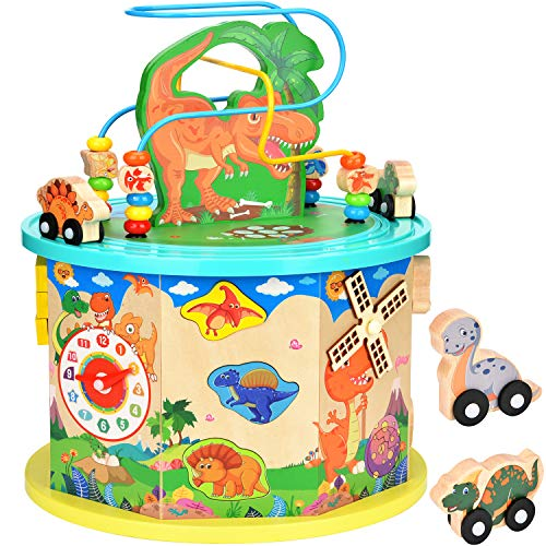 Amagoing Large Dinosaur Activity Cube, Baby Educational Toys Wooden Activity Center Bead Maze...