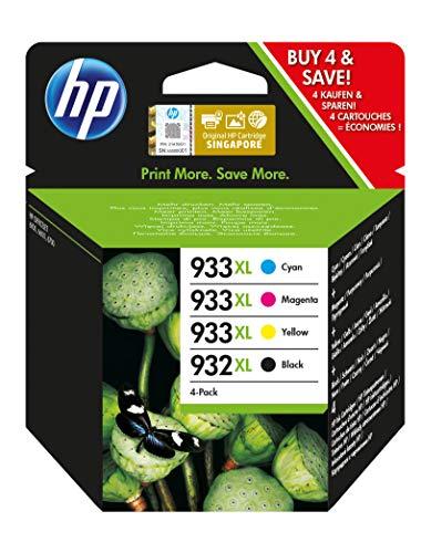 HP 932XL-933XL C2P42AE, Negro, Cian, Magenta y Amarillo, Cartuchos de Tinta de Alta Capacidad Originales, Pack de 4, compatible con impresoras de inyección de tinta HP OfficeJet 6100, 6600 y 6700