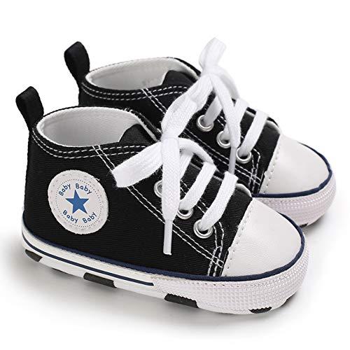 Baby Boys Girls Star High Top Sneaker Soft Anti-Slip Sole Newborn Infant First Walkers Canvas Denim Shoes (0-6 Months, Black)