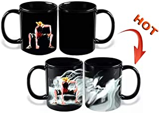 Bowinr One Piece Portrait of Pirates: Monkey D. Luffy Color Changing Coffee Mug, Ceramic Hot Heat Sensitive Magic Cup