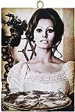 Kustom Art Cuadro de estilo vintage con los famosos «Sofia Loren Pizza», impresión sobre madera, para decoración de restaurantes, pizzerías, bares, árboles, etc. Medidas disponibles: 40 x 30 cm.