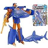 Clearance Sale!DEESEE(TM) Children's Toy Transformer Robot Shark Ocean Anime Figurine Gift for Christmas (Dark Blue)