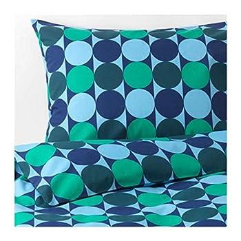 IKEA Krokuslilja Duvet Cover and Pillowcases Blue/Green 404.232.67 Size  Full/Queen  Double/Queen