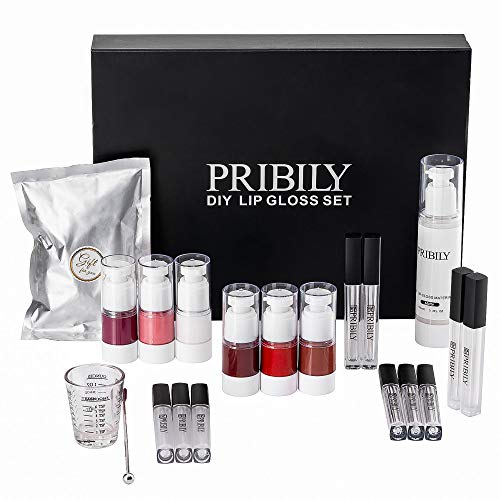 DIY Lip Gloss Making Kit PRIBILY Matte Lip Glaze Base with Tools Handmade Your Own Color Changing Lipgloss(57PCS)