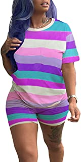 Casual 2 Piece Outfits Shorts Set Rainbow Striped T Shirt High Waisted Shorts Pants Purple S