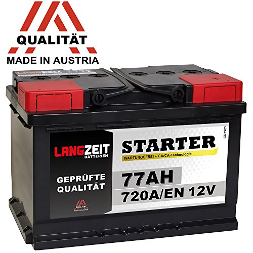 LANGZEIT Autobatterie 12V 77AH 720A/EN +30{435ec5d0b74187adb7c1b1ecf92fc890f0efc7521a07c66f9f5547c9ae024b0f} mehr Leistung ersetzt 70Ah 72Ah 74Ah 75Ah Starter Batterie