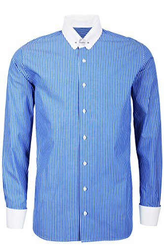 Schaeffer Hemd Modern Cut Streifen blau Piccadilly/Pin Collar weiß, Größe: XXL