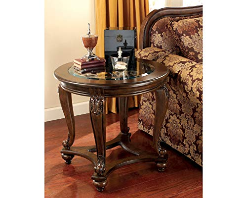 Signature Design by Ashley Norcastle Traditional Round End Table, Dark Brown