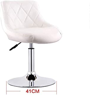 Seat Chair Embedded Solid Wood Plate 41Cm Bar Chair Chassis Bar Chair Leatherette Sponge Cushion Can Lifting 360 Swivel Chair Bar Household Restaurant Barstool 11.20 (Color : White)