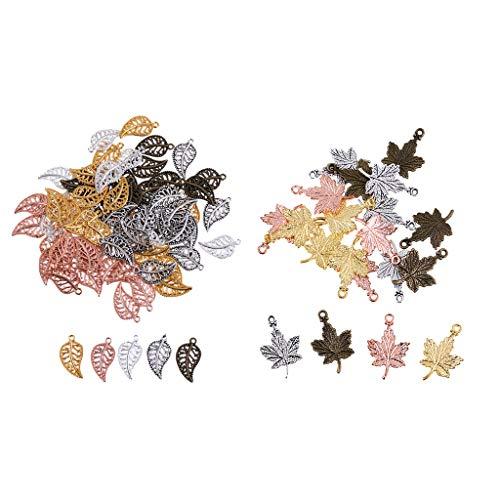 B Baosity 95 piezas hoja perla de aleación para pulsera de mujer hecha a mano con collar colgante
