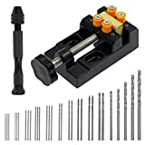Bonsicoky 32 Pcs Pin Vise Hand Drill Bits Set Inclued Micro Mini Twist Drill Bit Set & Mini Drill Press Vise Clamp Table Bench Vice for Making Wood Resin Drill Jewelry, Carving DIY Drilling