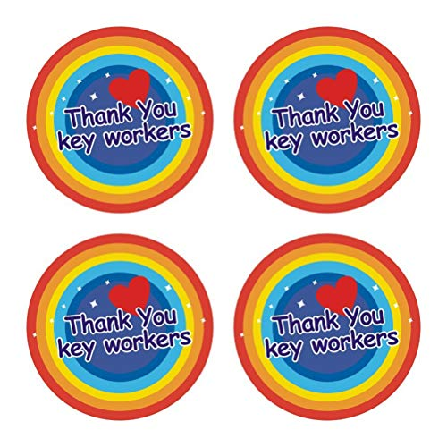 BSTOPSEL Rainbow Thank You Stickers Cartoon Rainbow Thankings Sticker voor Window Car Laptop