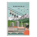 SDFGSD Grenoble Isère Vintage-Reiseposter, Bild, Poster,