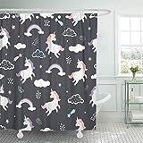 N\A Cortina de Ducha Tejido de poliéster Impermeable Unicornios Lindos Nubes Estrellas Magia Blanco Bebé Saltando en el Set con Ganchos Cortinas Decorativas de baño