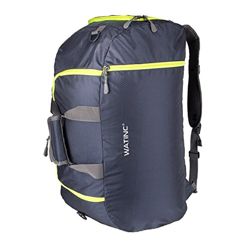 WATINC 50L 3-Way Travel Duffel Backpack travel backpacks Luggage Gym Sports Bag with Shoe Compartment(colorblue)