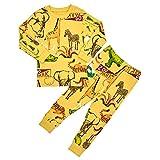 Unifriend 30s 伸縮性のある長袖 男児 キッズ パジャマ オーガニック 綿100% 子供 ルームウェア ねまき 上下セット (サファリ, 120)