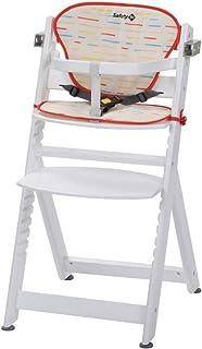 Safety 1st Timba con cojín, Trona de madera evolutiva, Trona para bebés con bandeja extraíble, Silla de altura regulable crece con el niño 6 meses - 10 años, color Blanco
