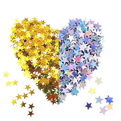 120g Confeti de Estrella Dorado Plata Confeti de Mesa Lentejuelas de Estrellas para Materiales de Fiesta Boda (60g Dorado +60g Plata)