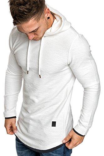 Amaci&Sons Herren 2in1 Oversize Kapuzenpullover Hoodie Sweater Sweatjacke Pullover Sweatshirt 4014 Weiß L