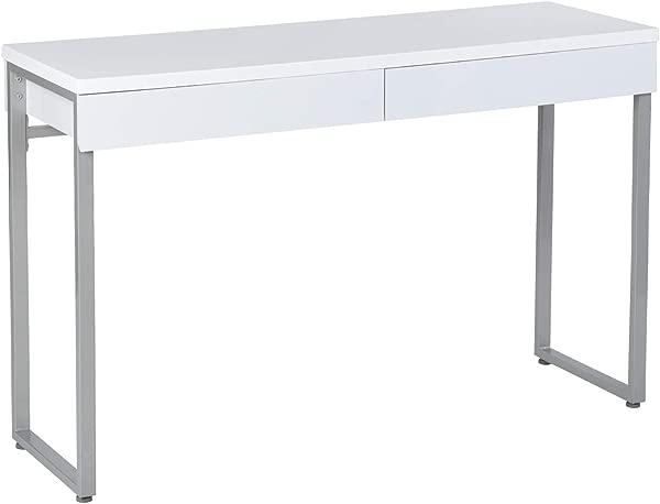 GreenForest 梳妆台 47 光泽白色控制台桌子电脑化妆台,带 2 个小抽屉和用于客厅入口走廊的实心金属腿