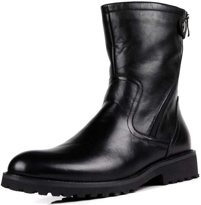 Y -H -H -H Mans stövlar, läder High -Top Martins stövlar, Plus Cashmere Warm Windove Winter stövlar, Tooling stövlar Formal skor (färg  svart, Storlek  44)  shoppa nu