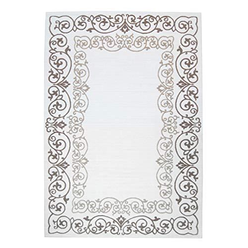 Acryl-Teppich Gewebt Hochwertig mit Klassischen Design aus Ornamenten im Mäander-Look (Bordüre) in Weiß, Braun, Beige Größe 160/230 cm