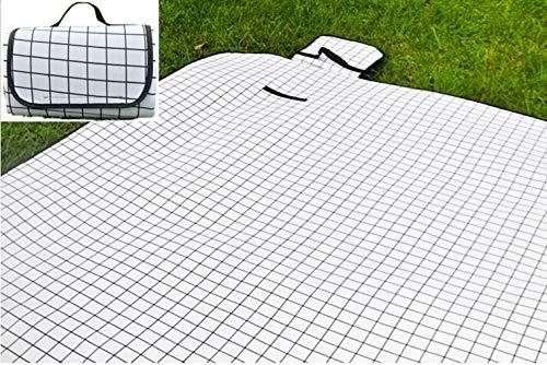 X-Labor Waschbar Baumwolle Leinen Picknick Decke 200x150 cm XXL mit wasserdichter PEVA Unterseite Wärmeisoliert Stranddecke Campingdecke Weiß Karo